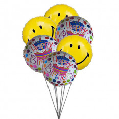 Smiley blue birthday balloons (6 Latex & 3-Mylar Balloons)