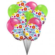 Happy Mother's Day - Ballons Bouquet (6-Mylar & 6-Latex Ballons)
