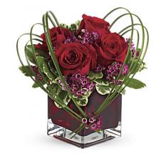 Geschenkblüten Süße Gedanken Bouquet mit roten Rosen (klein)