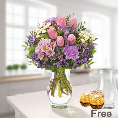 Strauß Frühlingszeit mit Vase und 2 Ferrero Rocher