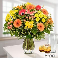 Strauß Frühlingszauber mit Vase und 2 Ferrero Rocher