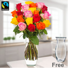 Gemischte Fairtrade-Rosen im Bund mit Vase (30 gemischte Rosen)