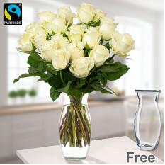 Bündel 20 weiße Fairtrade-Rosen mit Vase