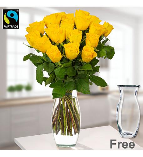 20 gelbe Fairtrade-Rosen in einem Bündel mit Vase