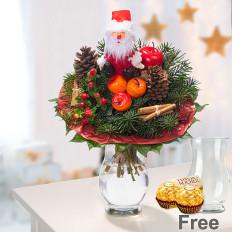 Weihnachtsmannstrauss mit Vase und 2 Ferrero Rocher