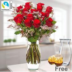 Bündel von 15 roten Rosen mit Limonium und Vase
