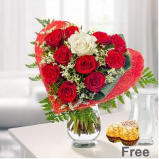 Rosen-Blumenstrauß Romeo mit Vase