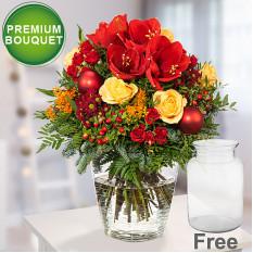 Premium Bouquet Bescherung mit Vase & Lindt Mandeln