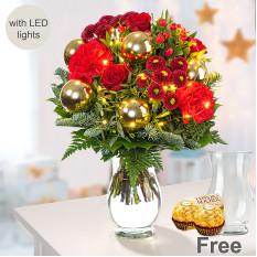 Strauß Glänzend mit Lichterketten, Vase und 2 Ferrero Rocher