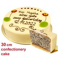 Großer Gebäckmohnkuchen, kann beschriftet werden