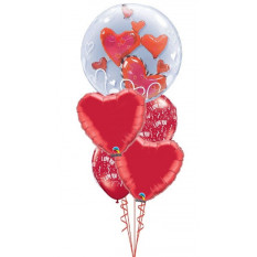 Ich liebe dich Herzen Double Bubble Bouquet