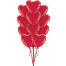 Ein Dutzend rote Herz-Ballons