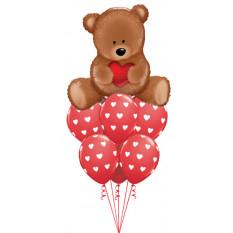 Teddybär-Liebes-Ballon-Blumenstrauß