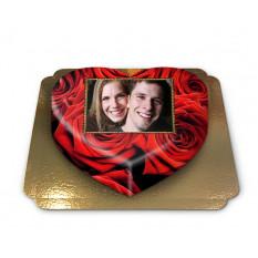 Kuchen Foto-rote Rosen in Herzform (Größe M)