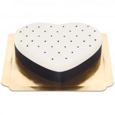 Kuchen Deluxe Herz Valentine - Schwarz & Weiß (Mittel)