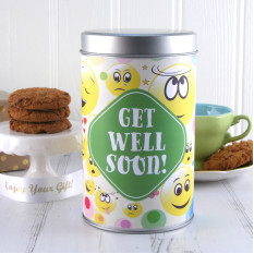 Gute Besserung Smiley Faces Cookie Tin