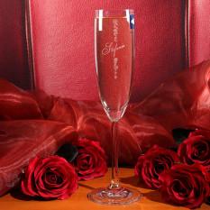 Graviertes Champagnerglas Rosen mit gewünschtem Domain-Namen