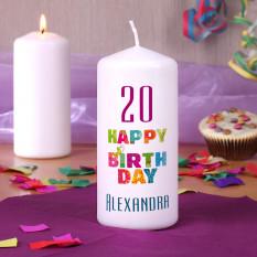 Geburtstagskerze - Happy Birthday - mit Namen und Alter