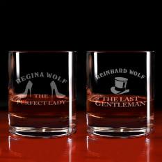 Graviertes Whisky-Glas-Set für Sie und Ihn mit gewünschtem Domain-Namen