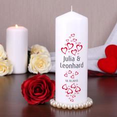 Kerze für Paare mit Herzen, Namen und Datum