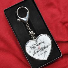 2-seitige Schlüsselanhänger für Hochzeit mit Foto, Name und Datum