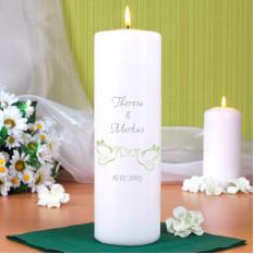 Hochzeitskerze bedruckt mit Taubenmotiv