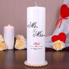 Kerze in Mr and Mrs Design für die Hochzeit