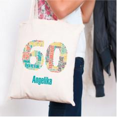 Baumwolltasche zum 60. Geburtstag bedruckt mit Ihrem Namen