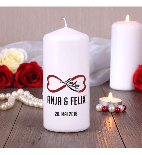 Unendliche Liebe - Kerze mit Namen und Datum