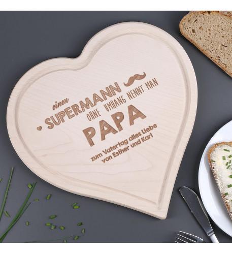 Holzherz Boards mit Gravur für Super Väter