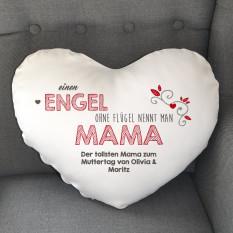 Personalisierte Herzkissen für Mütter - ein Engel ohne Flügel heißt Mama