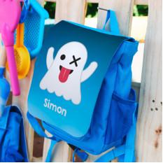 Blauer Kinderrucksack mit Emoticon Ghost und Ihrem Namen