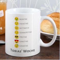Emoticon Tasse mit Wochentagen und Ihrem Wunschtext