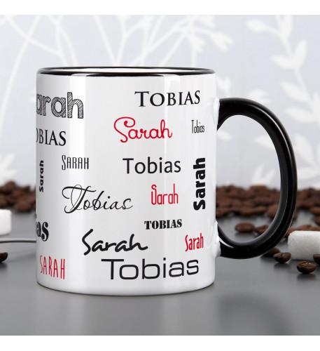 Tasse mit zwei Namen in verschiedenen Schriftarten