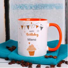 Orange Geburtstagskuchen mit Namensdruck