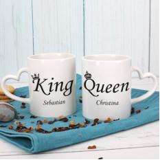 Wenige Tassen - King And Queen - mit deinem Namen