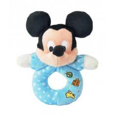 Mickey Mouse Plüsch Babyrassel / Beißring blau