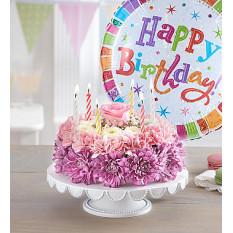 Geburtstagswünsche Blumenkuchen Pastell (klein mit Ballon)