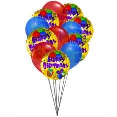 Bunte Geburtstagsballons (6 Latex & 6-Mylar Ballons)