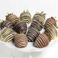 Triple Chocolate Covered Strawberries (6 Strawberries)